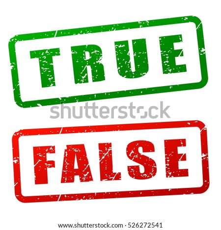 Illustration of true and false stamp design