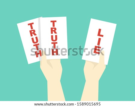 Illustration of Truth and Lie Office Game, with Hands Holding White Cards with Truth and Lie Stockfoto ©