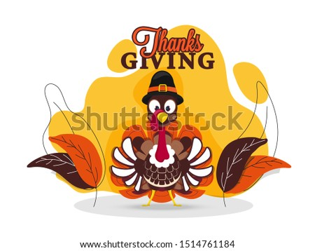 Illustration of turkey wearing pilgrim hat with leaves on abstract background for Thanksgiving Day greeting card design.