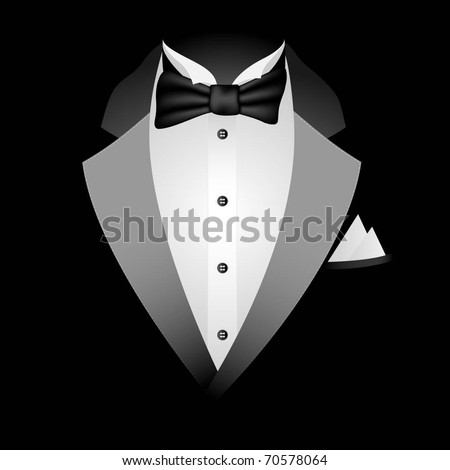 Illustration of tuxedo with bow tie on a black background Vector.