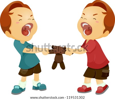 Illustration of Twin Boys Fighting Over a Stuffed Toy