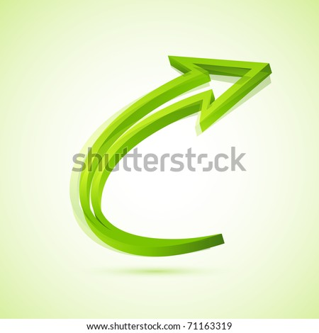 illustration of twisted arrow on isolated background