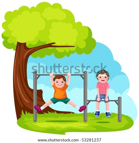 illustration of two boys playing with park bar