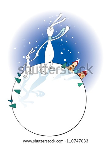 Illustration of Two Bunnies on Globe in Winter
