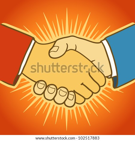 Illustration of two businessmen shaking hands. Good deal