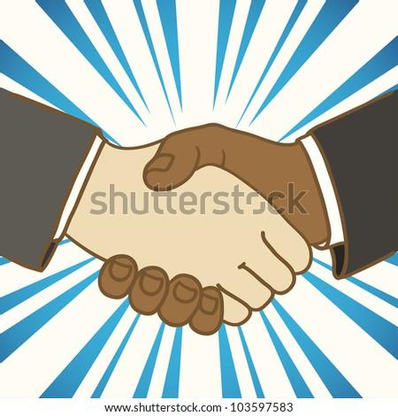 Illustration of two businessmen shaking hands. Good deal