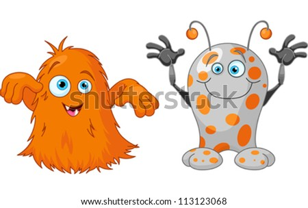 Illustration of two cute little monsters