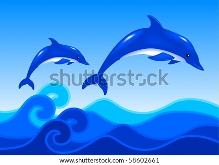 illustration of two dolphins