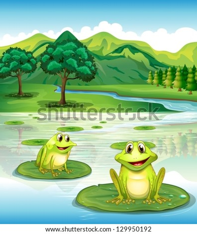 illustration of two frogs above