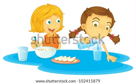 Illustration of two girls eating breakfasts