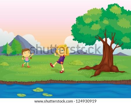 illustration of two girls