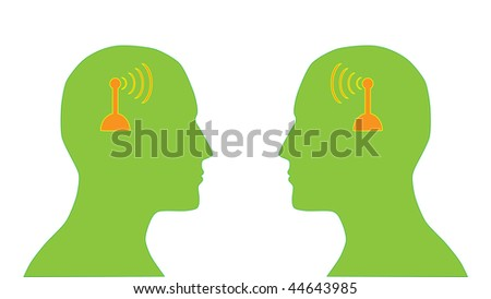 illustration of two human heads silhouette with antenna which symbolize communication