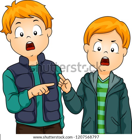 Illustration of Two Kid Boys Pointing to Each Other Passing Fault to the Other Сток-фото ©