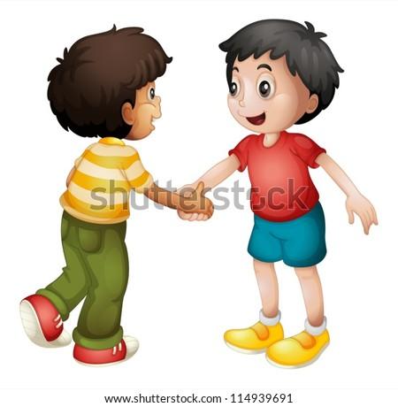 Illustration Of Two Kids Shaking Hands On White Background - 114939691 : Shutterstock