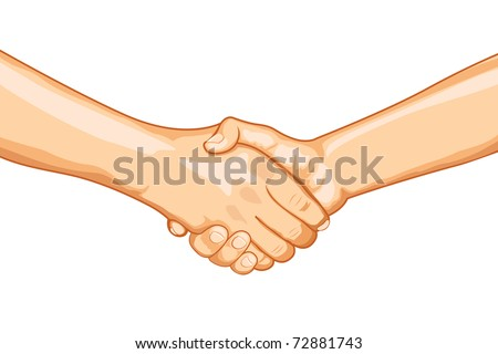 illustration of two male handshaking with each other on white background - stock vector