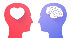 Illustration of two men heads with heart and a brain