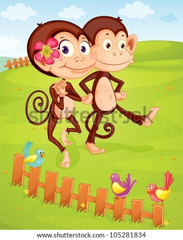 illustration of two monkeys walking on green lawn