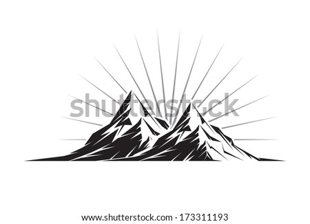 illustration of two mountain