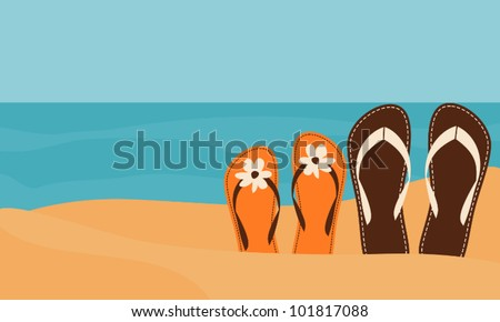 Illustration of two pairs of flip-flops on the beach with the sea in the background.