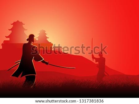 illustration of two samurai in