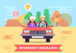 Illustration of two senior characters - old husband and his old wife seating in the car and traveling across the country side. Great idea for retirement insurance advertisement. Vector flat design.