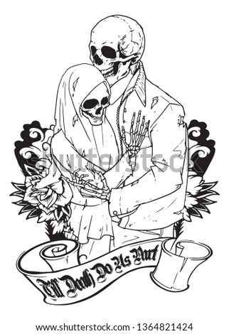 illustration of two skull