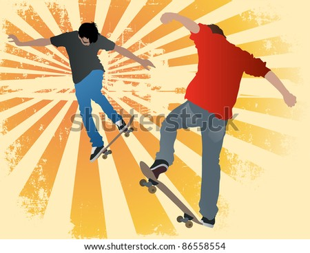 Illustration of two urban street skaters on an abstract grunge background.