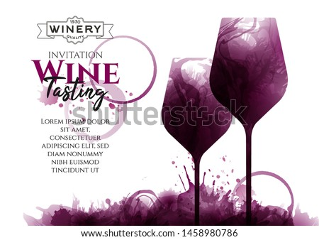Illustration of two wine glasses with red wine stains, vector. Splashes of wine, liquid, drops, circles of glass. Drawing for wine designs. Event, party, presentation, promotion, menu, book cover.