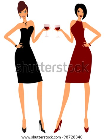 Illustration of two young attractive women holding glasses of red wine.
