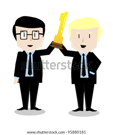 illustration of two young successful businessman with a gold award trophy in his hands