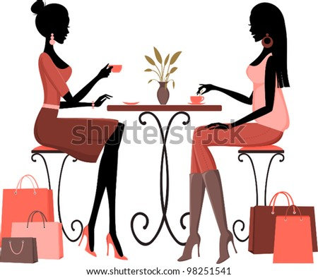 Illustration of two young women having coffee after a day of shopping.