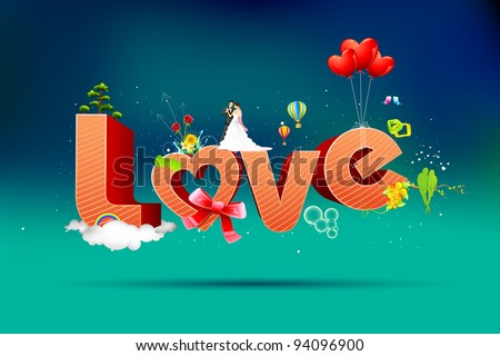 illustration of typography card of happy valentine with love text