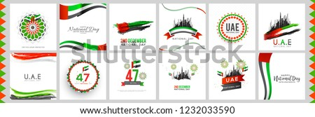 Illustration Of UAE National Day Banner Or Poster Design Set With National Flag Color Theme Background.