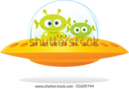 Illustration of UFO with two green alien