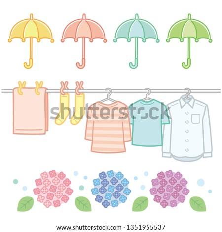 Illustration of umbrella, illustration of laundry, illustration of hydrangea