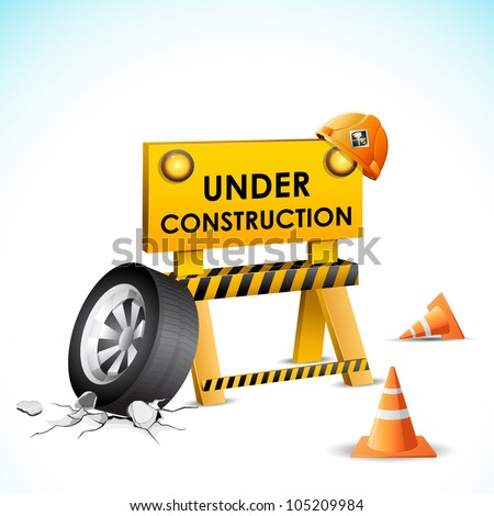 illustration of under construction background with stopper and tyre - stock vector