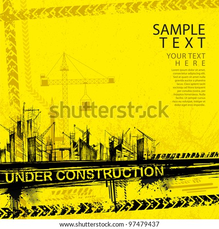 illustration of under construction site with building - stock vector