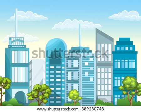 Illustration of urban landscape. City with skyscrapers