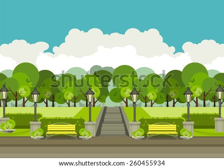illustration of urban parks and