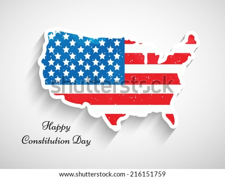 Illustration of USA Map with Flag for Constitution Day