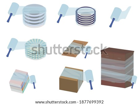Illustration of using packing film Foto d'archivio ©