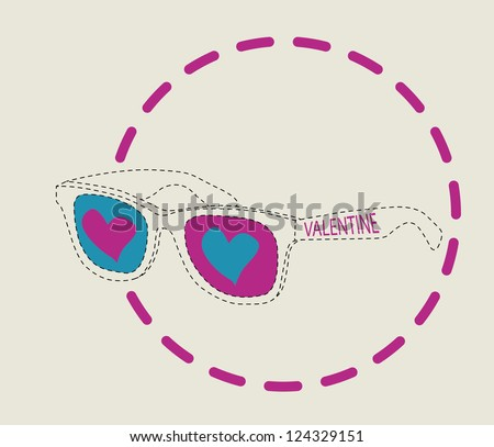 Illustration of Valentine glasses with hearts