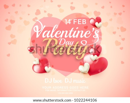 Illustration Of Valentines Day Greeting Card Background With Styles Lettering Design.