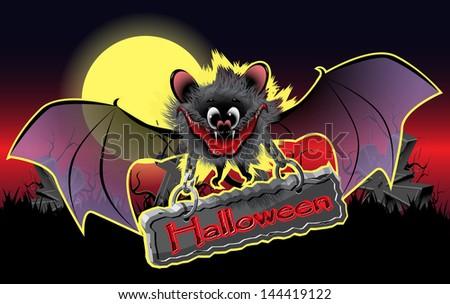 illustration of vampire bat on a holiday halloween