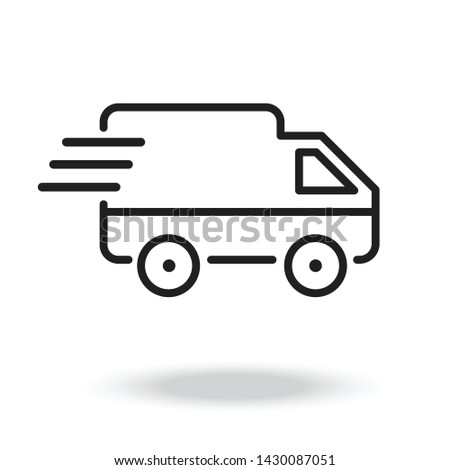 Illustration of van thin line icon design  .Delivery van.Logistics line icon, transportation, delivery