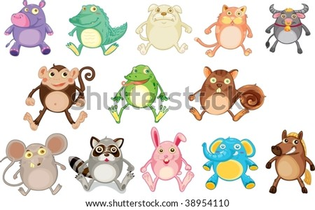 illustration of various animals on white