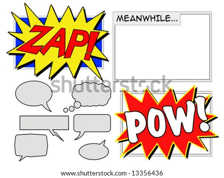 Illustration of various comic book elements including speech balloons