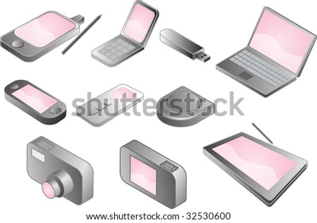 Illustration of various electronic gadgets in isometric format vector