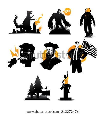 Illustration of various icons set of mosters and humans vector isolated