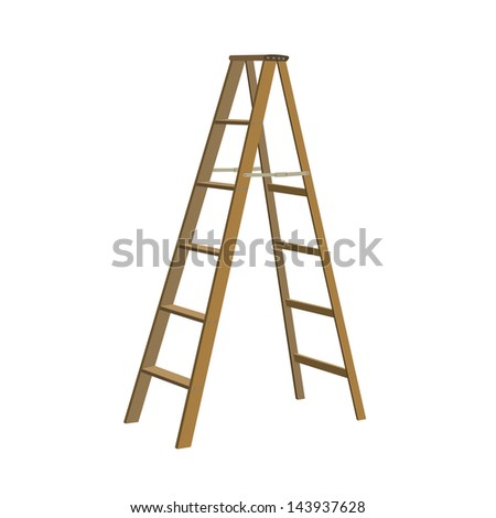 Illustration of various isolated ladders, stepladders -  set for your design #143937628